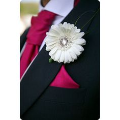 1 x Gerbera daisy simple wedding buttonhole with diaman...