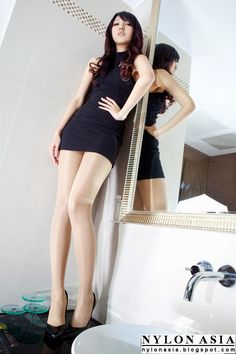 Black Miniskirt Dress Tan Pantyhose