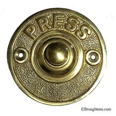 Circular Bell Push with PRESS Polished Brass