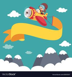 Kid flying plane with banner Royalty Free Vector Image Cartoon Template, Flying Banner, Airplane Kids, Fly Plane, Gata Marie, Happy Children's Day, School Posters, School Decorations, Banner Vector