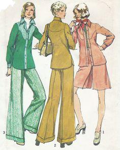 1970s Womens Unlined Jacket Short Pantskirt & Wide by CloesCloset