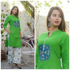 Kurta Sets Women's Embroidered Rayon Kurta with Palazzos Fabric: Kurti - Rayon Palazzo - Rayon Sleeves: Sleeves Are Included Size: kurti - M- 38 in  L - 40 in XL - 42 in XXL - 44 in Palazzo - M- 30 in  L - 32 in XL - 34 in XXL - 36 in Length: Kurti - Up To 46 in Palazzo - Up To 36 in Type: Stitched Description: It Has 1 Piece Of Women's Kurti With 1 Piece Of Palazzo Work: Kurti - Printed Palazzo - Printed Country of Origin: India Sizes Available: M, L, XL, XXL   Catalog Rating: ★4 (531)  Catalog Name: Women's Printed Kurta Sets with Palazzos CatalogID_380659 C74-SC1003 Code: 414-2804067-4101