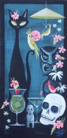 El gato gomez painting retro polynesian pop tiki bar idol hawaii cat mcm I almost bid on this Vintage Tiki, Art Vintage, Retro Art, Funky Art, Vintage Crafts, Décor Tiki, Tiki Art, Mid Century Modern Art, Mid Century Art