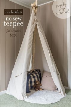 Step by step tutorial on how to make a simple, no sew dropcloth teepee for around $20!