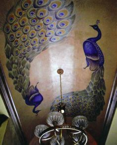 Peacocks on the ceiling.