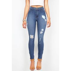 Pink Ice Tidal Torn High Waist Skinny Jeans ($55) ❤ liked on Polyvore featuring jeans, pants, bottoms, denim, skinny jeans, white distressed jeans, white ripped jeans, white high-waisted jeans and super skinny jeans