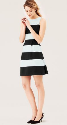 Wide Stripe Pleated Skirt Dress