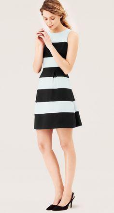 Wide Stripe Pleated Skirt Dress