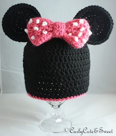 Minnie Mouse Crochet Hat made using an awesome pattern from: http://www.etsy.com/shop/lizzziee  Check out my shop for more fun hats: http://www.etsy.com/shop/CurlyCuteNSweet?ref=ss_profile