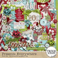"""Presents Everywhere Digital Scrapbooking Full Kit Christmas - It's that magical time of year when busy moms (and dads) everywhere are scurrying to complete their best Santa impersonation, delivering all the most-wished-for gifts on their children's wish lists. And once the shopping is done, the present wrapping marathon begins! Document the fun of it all with this new digital scrapbooking collection from Trixie Scraps, """"Presents Everywhere."""""""