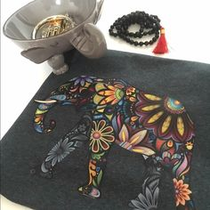 Elephant Tee Multi color elephant t-shirt with floral design on grey. Tops Tees - Short Sleeve