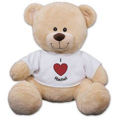 """Personalized I Heart You Teddy Bear -Couples Romantic Teddy Bear - Personalized I Heart You Sherman Teddy Bear Nothing says """"I Heart You"""" more than our lovable Sherman Teddy Bear. Sherman makes a romantic bear gift idea to give your boyfriend, girlfriend, spouse or secret admirer. He is truly unique because you can custom design the t-shirt with any two line custom message.  $24.98  @Peggy Henry.com"""