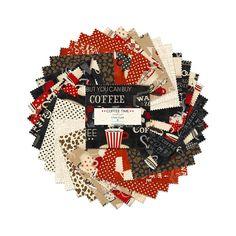 Wilmington Prints Crystals Coffee Time Jennifer Pugh 5 Karat Crystals 42 per pack | Fabric Square 5 Inch