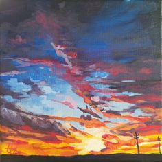 """Acrylic on Canvas8x8"""" canvas, framed This dramatic sunset greets the weary traveller on his way home. The original painting is set in a white floating frame, included in your purchase. For reproductions of this painting on paper, canvas, wood, metal or even household goods like pillows, tote bags and phone cases,clickhere."""