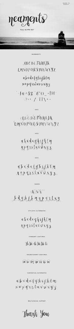 Typeface by Swistblnk Design Std. on Creative MarketNeaments Typeface by Swistblnk Design Std. on Creative Market Hand Lettering Alphabet, Calligraphy Alphabet, Calligraphy Fonts, Typography Fonts, Alphabet Fonts, Free Typeface, Script Typeface, Brush Font, Brush Lettering