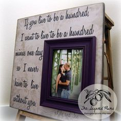 Personalized Wedding Picture Frame 16x16 If You Live To Be A Hundred Aniversary Love Winnie The Pooh on Etsy, $75.00