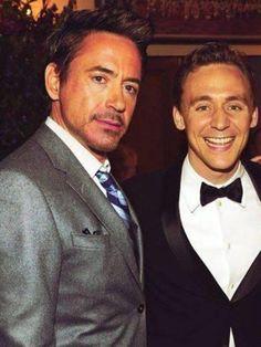 Robert Downey Jr and Tom Hiddleston