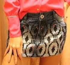 Resultado de imagem para saias jeans bordadas
