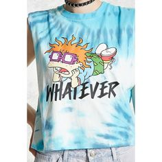 Forever21 Tie-Dye Rugrats Muscle Tee ($16) ❤ liked on Polyvore featuring tops, forever 21 tank, blue tank, blue tank top, tie dye tank and rib tank