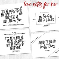 Valentine's Day love notes. Perfect gift to accompany your gift to your wife or girlfriend. You can leave these notes of love to her throughout the year. Love Notes for Her - Gold Foil