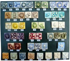 Kitchen Tiles Handmade custom ceramic bas relief art tiles featuring sealife or nautical