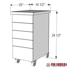 DIY Drill Press Stand with storage drawers to organize drill press accessories. Full video and drill press stand plans available! The drill press cabinet can be made from just 1 full plywood sheet. Workshop Storage, Tool Storage, Garage Storage, Diy Storage, Workshop Organization, Garage Organization, Drill Press Stand, Drill Press Table, Tool Stand