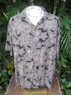2a10757b Island Shores Men's XL Black Floral 100% Rayon Short Sleeve Hawaiian Shirt  (L19) | eBay