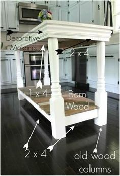 diy kitchen island rainonatinroof with barn wood and old porch columns Furniture Projects, Home Projects, Diy Furniture, Painted Furniture, Furniture Design, Furniture Plans, Furniture Dolly, Furniture Vintage, Kitchen Furniture