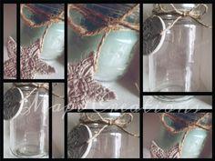 Bottiglie bottles barattoli candele candela candle oceano sfumature azzurro nome stella love vintage ricamo juta nastro home decor relax