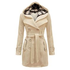 Women's Fashion Slim Double Breasted Solid Color Woolen Hooded Coat 2015 – $58.37
