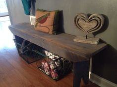 Antique bench with wire crate shoe storage