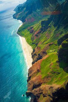 The final lookout at the end of Waimea Canyon Road overlooks the Napali coast, Kauai, Hawaii Kauai Hawaii, Hawaii Travel, Hawaii Usa, Hawaii Beach, Lihue Hawaii, Playa Beach, Places To Travel, Places To See, Places