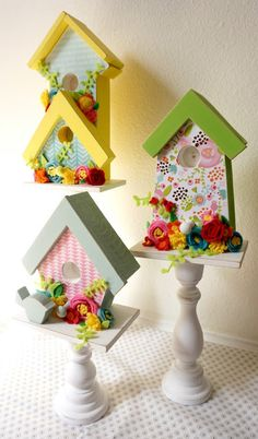 Hi friends! It's Amy from Ameroonie Designs here again to share this fun tutorial for making these cute embellished birdhouses. You will need: Birdhouses paper paint sandpaper brushes felt hot glue gun and glue sticks wood glue Assembly: Begin by lightly sanding all the wood pieces. Decide which papers will be on each birdhouse and...Read More »