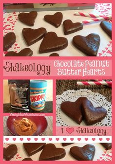 Use Shakeology to create a yummy Valentine's treat - #Shakeology Chocolate Peanut Butter Hearts. Only two ingredients and a snap to make this healthy treat. Recipe by WeighToMaintain.com   #ValentinesDay