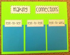 Making Connections post-it poster- With this posted in the classroom, the teacher can ask the students to fill out a sticky note after reading and will able to see how well the students are connecting with any text. Text To Text Connections, Making Connections, Reading Skills, Teaching Reading, Guided Reading, Kindergarten Reading, Reading Wall, Learning, Text To World