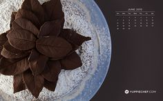 Leaves of chocolate for June's free downloadable wallpaper Almond Cakes, June, Leaves, Wallpapers, Treats, Chocolate, Tableware, Sweet Like Candy, Goodies