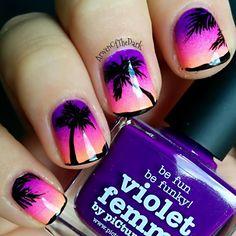 Nail Art Coven: Mags' Paradise Palm Trees Nail Art