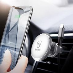 Baseus Magnetic Car Holder For Mobile Phone Holder Stand GPS Air Vent Mount Car Phone Holder For iPhone Samsung with Cable Clip - phone holders stands Magnetic Phone Holder, Cell Phone Stand, Cable Organizer, Samsung, Car Holder, Air Vent, Iphone, Car Accessories, Silver