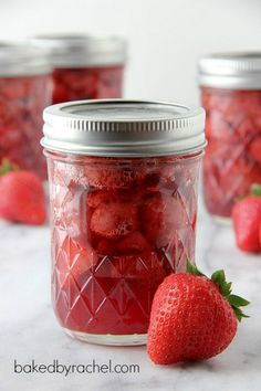 Strawberry sauce recipe with canning instructions from bakedbyrachel.com