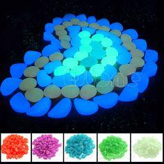 100Pcs Glow In The Dark Stones Pebbles Rock For Aquarium Fish Tank Garden  Decor