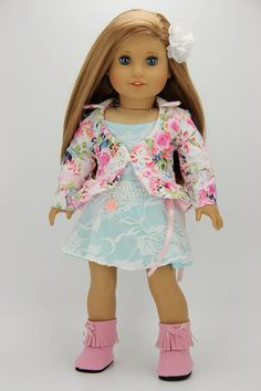 1a1dab0d9f5 Handmade 18 inch doll clothes - Pink and blue 5 piece floral jacket outfit  (788