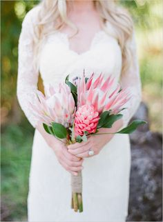 Garden Flowers Wedding Ideas Bouquet 22 Tropical King Protea Wedding Bouquets Ideas See More: Protea Bouquet, Bridal Bouquet Pink, Bride Bouquets, Flower Bouquet Wedding, Protea Flower, Bridal Gown, Protea Wedding, Beach Wedding Flowers, Hawaii Wedding