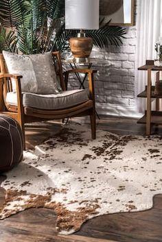 Rugs USA Brown Vaquero Macchiato Faux Cowhide rug - Animal Prints Shaped 5 x 6 7 Decor, Hide Rug Living Room, Luxury Decor, Living Room Decor, Cow Hide Rug, Home Decor, Rugs Usa, Brown Living Room, Cowhide Rug Living Room