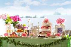 #NOVARESE#dessert#buffet#girly#cake#flower#pink#green