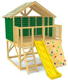 Petite Retreat Clubhouse Plan - 2 level, open concept clubhouse design allows for greater freedom to move around and play. Backyard Playhouse, Build A Playhouse, Playhouse With Slide, Kids Playhouse Plans, Backyard Fort, Wooden Playhouse, Kids Outdoor Play, Backyard For Kids, Outdoor Playsets For Kids