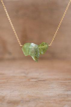 Raw Peridot Necklace August Birthstone Raw Crystal by AbizaJewelry