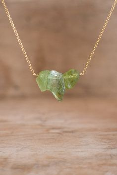 Raw Peridot Necklace August Birthstone Raw Crystal by AbizaJewelry