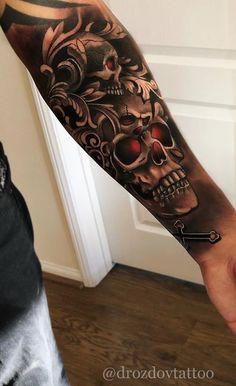 80 Skull and Skull Tattoos [Masculinas e Femininas] Forarm Tattoos, Cool Arm Tattoos, Top Tattoos, Badass Tattoos, Forearm Tattoo Men, Hand Tattoos, Tattoos For Guys, Skull Hand Tattoo, Skull Sleeve Tattoos