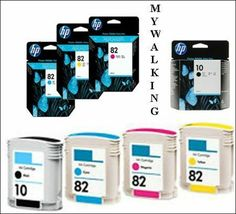 4 New HP Cartridges Dated 2020  82 Cyan Magenta/ Yellow/HP 10 Black Fast Postage