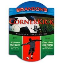 FREE SHIPPING WITHIN THE CONTINENTAL USA   Soccer Bar Sign  Our Soccer Bar Sign is an essential embellishment for any home bar, special occasion event or soccer lover. Finished in high gloss laminated wood, these bar signs feature vibrant soccer pl...